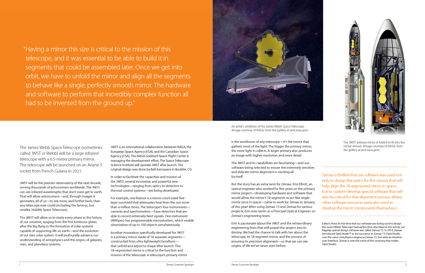 OpticStudio used to design critical systems for James Webb Space Telescope Sneak Preview